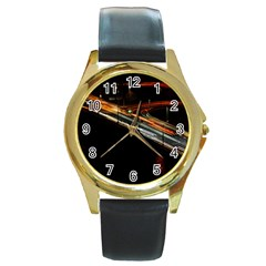 Highway Night Lighthouse Car Fast Round Gold Metal Watch