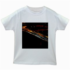 Highway Night Lighthouse Car Fast Kids White T Shirts