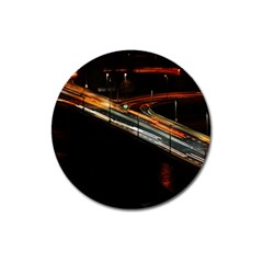 Highway Night Lighthouse Car Fast Magnet 3  (round)