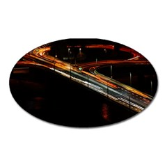 Highway Night Lighthouse Car Fast Oval Magnet