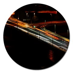 Highway Night Lighthouse Car Fast Magnet 5  (Round)