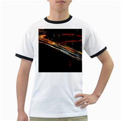 Highway Night Lighthouse Car Fast Ringer T Shirts