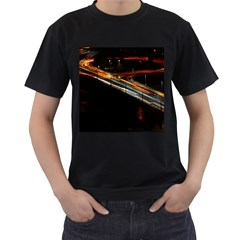 Highway Night Lighthouse Car Fast Men s T Shirt (black) (two Sided)