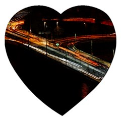 Highway Night Lighthouse Car Fast Jigsaw Puzzle (heart)