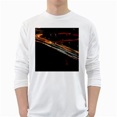Highway Night Lighthouse Car Fast White Long Sleeve T-Shirts