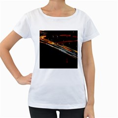 Highway Night Lighthouse Car Fast Women s Loose Fit T Shirt (white)