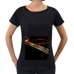 Highway Night Lighthouse Car Fast Women s Loose-Fit T-Shirt (Black)