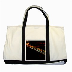 Highway Night Lighthouse Car Fast Two Tone Tote Bag