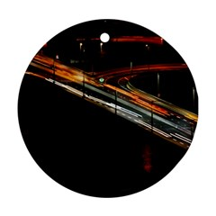 Highway Night Lighthouse Car Fast Round Ornament (Two Sides)