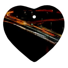 Highway Night Lighthouse Car Fast Heart Ornament (two Sides)