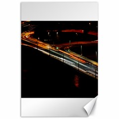 Highway Night Lighthouse Car Fast Canvas 24  X 36