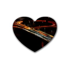 Highway Night Lighthouse Car Fast Rubber Coaster (Heart)