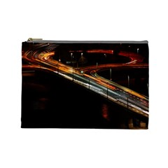 Highway Night Lighthouse Car Fast Cosmetic Bag (large)