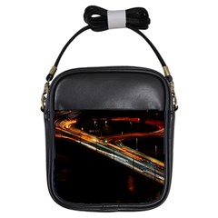Highway Night Lighthouse Car Fast Girls Sling Bags