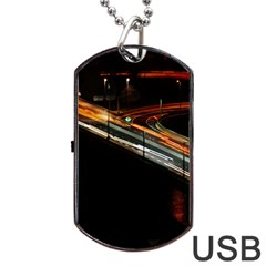 Highway Night Lighthouse Car Fast Dog Tag USB Flash (One Side)