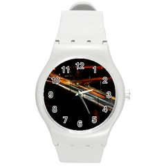 Highway Night Lighthouse Car Fast Round Plastic Sport Watch (M)