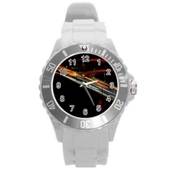 Highway Night Lighthouse Car Fast Round Plastic Sport Watch (l)