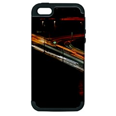 Highway Night Lighthouse Car Fast Apple Iphone 5 Hardshell Case (pc+silicone)