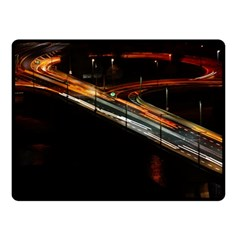 Highway Night Lighthouse Car Fast Double Sided Fleece Blanket (small)