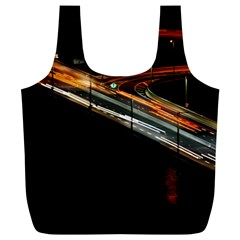 Highway Night Lighthouse Car Fast Full Print Recycle Bags (l)