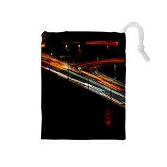 Highway Night Lighthouse Car Fast Drawstring Pouches (medium)