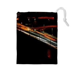 Highway Night Lighthouse Car Fast Drawstring Pouches (large)