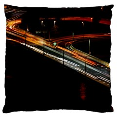 Highway Night Lighthouse Car Fast Large Flano Cushion Case (two Sides)