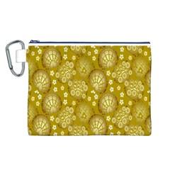 Flower Arrangements Season Gold Canvas Cosmetic Bag (L)