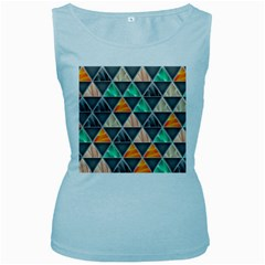 Abstract Geometric Triangle Shape Women s Baby Blue Tank Top