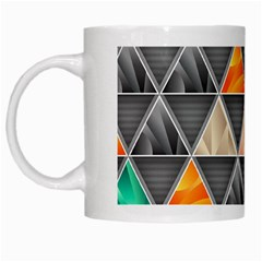 Abstract Geometric Triangle Shape White Mugs