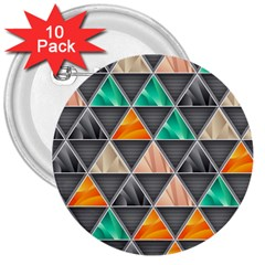 Abstract Geometric Triangle Shape 3  Buttons (10 pack)