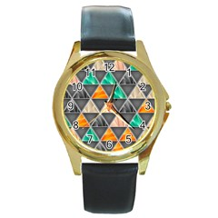 Abstract Geometric Triangle Shape Round Gold Metal Watch