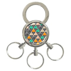 Abstract Geometric Triangle Shape 3-Ring Key Chains