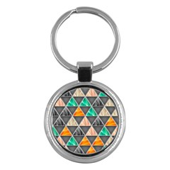 Abstract Geometric Triangle Shape Key Chains (round)