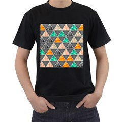 Abstract Geometric Triangle Shape Men s T-Shirt (Black) (Two Sided)