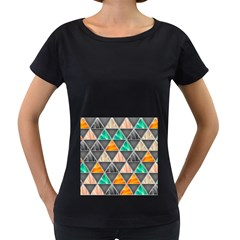 Abstract Geometric Triangle Shape Women s Loose Fit T Shirt (black)