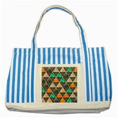 Abstract Geometric Triangle Shape Striped Blue Tote Bag