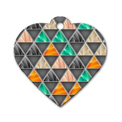 Abstract Geometric Triangle Shape Dog Tag Heart (Two Sides)