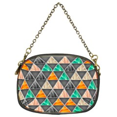 Abstract Geometric Triangle Shape Chain Purses (two Sides)
