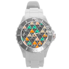 Abstract Geometric Triangle Shape Round Plastic Sport Watch (l)