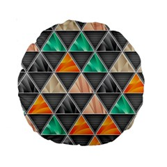 Abstract Geometric Triangle Shape Standard 15  Premium Round Cushions