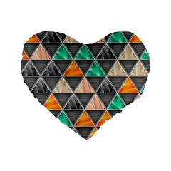 Abstract Geometric Triangle Shape Standard 16  Premium Heart Shape Cushions