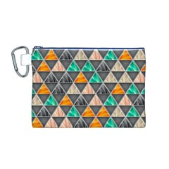 Abstract Geometric Triangle Shape Canvas Cosmetic Bag (m)