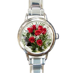 Red Roses Roses Red Flower Love Round Italian Charm Watch