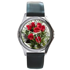 Red Roses Roses Red Flower Love Round Metal Watch