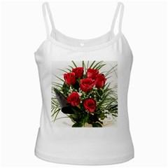 Red Roses Roses Red Flower Love White Spaghetti Tank