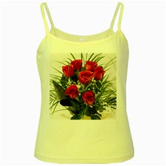 Red Roses Roses Red Flower Love Yellow Spaghetti Tank