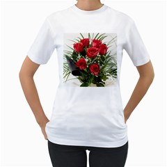 Red Roses Roses Red Flower Love Women s T Shirt (white) (two Sided)