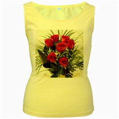 Red Roses Roses Red Flower Love Women s Yellow Tank Top