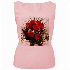 Red Roses Roses Red Flower Love Women s Pink Tank Top